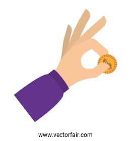 hand holding coin with purple sleeve
