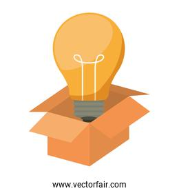 silhouette packing open with light bulb
