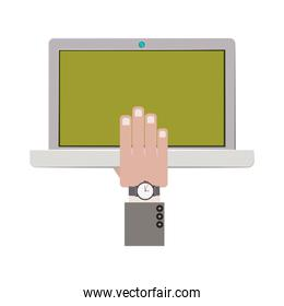 laptop with hand and watch