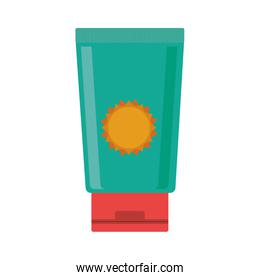 silhouette with big bottle green of sunscreen