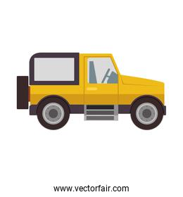 silhouette with sport jeep yellow