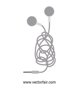 silhouette with earphones in gray scale