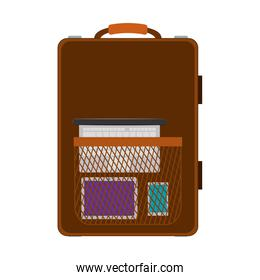 travel suitcase brown with handle and pocket