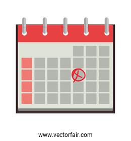 silhouette calendar with day marked