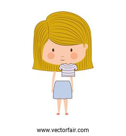 silhouette with half body girl blonde with striped hair
