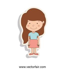 silhouette girl brown hair with skirt and shadow