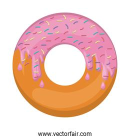 donut with medium pink glazed and colored sparks