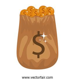 silhouette of bag with many golden coins