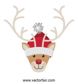 reindeer head with christmas woolen hat red and white