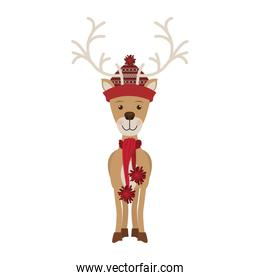 reindeer with christmas decoration standing