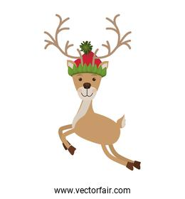 reindeer jumping with christmas woolen hat
