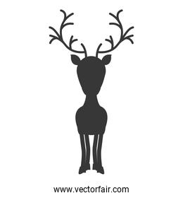 silhouette monochrome with standing reindeer