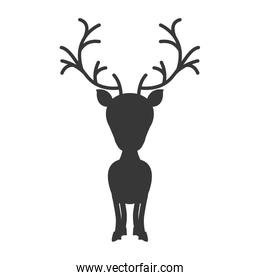 silhouette monochrome with reindeer of big head