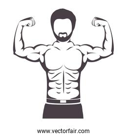 silhouette half body muscle man