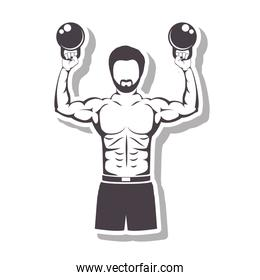 muscle man lifting weights for Crossfit with shadow