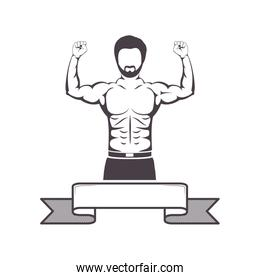 silhouette half body muscle man with label