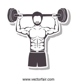 silhouette in relief a muscle man lifting a bar weights