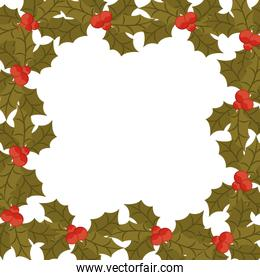 ornament border with leaves Christmas and berrys