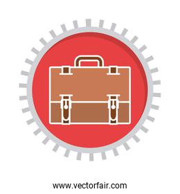 image with suitcase in toothed circle
