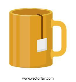 silhouette of cup with tea closeup