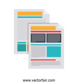 silhouette of documents with text and graphics