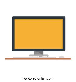 silhouette with desktop computer on table