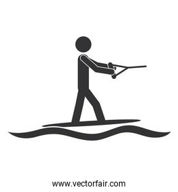 monochrome silhouette with man water skiing