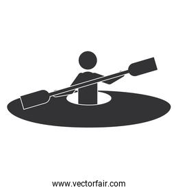 monochrome silhouette with man and kayak rowing