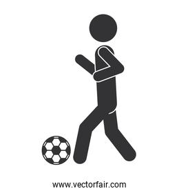 monochrome silhouette of man with soccer ball