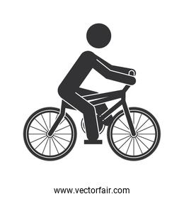 monochrome silhouette of man in bicycle