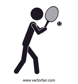 monochrome silhouette with tennis player and ball