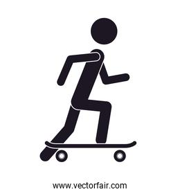 monochrome silhouette of man with skateboard
