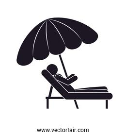 monochrome silhouette person in Beach Chair with sunshade