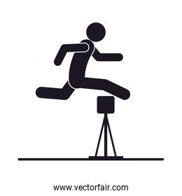 monochrome silhouette with athlete jumping hurdles