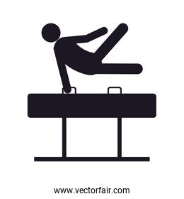 monochrome silhouette of gymnast in pommel horse in one hand