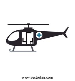 color silhouette with rescue helicopter
