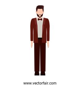 silhouette man with formal suit and bowtie
