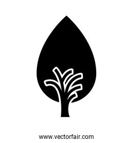 black and white tree trunk with foliage shape of drop