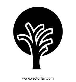 black and white tree trunk with foliage shape of circle