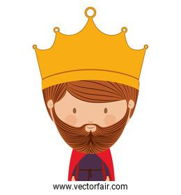 colorful half body king with crown and beard