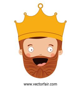 colorful king head with crown and beard