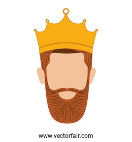 colorful king head with crown and beard without a face