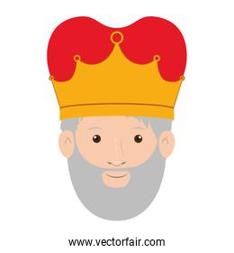 colorful king head with crown and gray beard