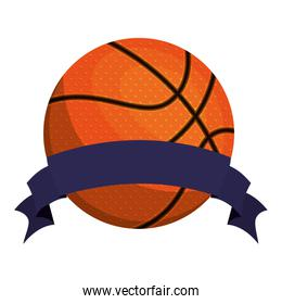 silhouette color with basketball ball and ribbon