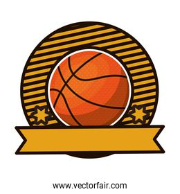 silhouette color emblem with basketball ball and ribbon