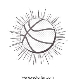 gray scale silhouette with basketball ball