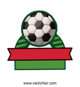 soccer tournament thropy emblem with ball