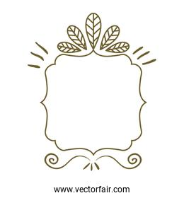 silhouette heraldic decorative frame with leaves
