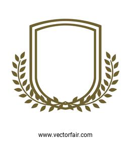 emblem silhouette heraldic decorative frame with leaves