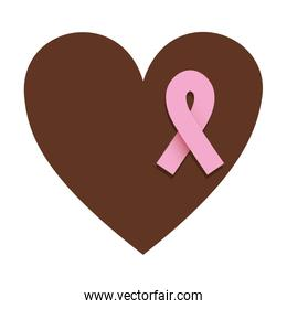 silhouette brown heart with ribbon of breast cancer